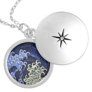 Hokusai Feminine Wave Japanese Vintage Fine Art Locket Necklace