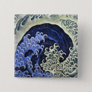Hokusai Feminine Wave Japanese Vintage Fine Art Pinback Button