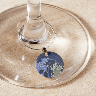 Hokusai Feminine Wave Japanese Vintage Fine Art Wine Glass Charm