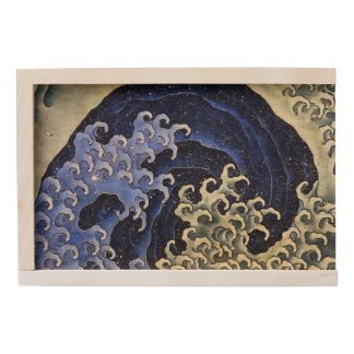 Hokusai Feminine Wave Japanese Vintage Fine Art Wooden Keepsake Box