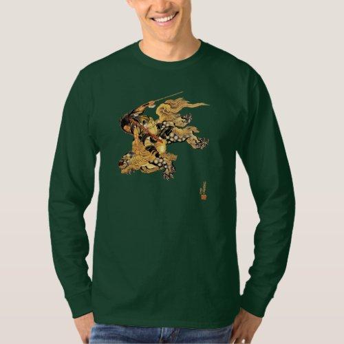 Hokusai Flying Warrior Riding Snow Leopard Dragon T_Shirt