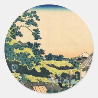 Hokusai Fuji seen from the Mishima pass Round Stickers