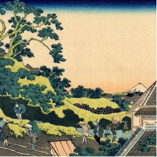 Hokusai: Fuji visto del paso de Mishima Fotoescultura Vertical