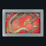 """Hokusai Gold Japanese Dragon Belt Buckle<br><div class=""""desc"""">Hokusai Gold Japanese Dragon belt buckle. Ukiyo-e produced during the Edo Period. Mythological creatures were a frequent theme of Hokusai's art, this gold dragon is one of his most expressive mythological works. The dragon sits on a red background surrounded with wild blue waves. A great gift for fans of Katsushika...</div>"""