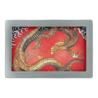 Hokusai Gold Japanese Dragon Belt Buckle
