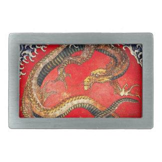 Hokusai Gold Japanese Dragon Belt Buckle