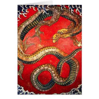 Hokusai Gold Japanese Dragon Card