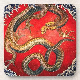 Hokusai Gold Japanese Dragon Coasters