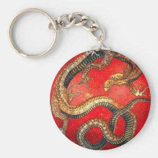 Hokusai Gold Japanese Dragon Key Chain
