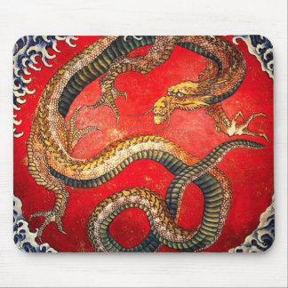 Hokusai Gold Japanese Dragon Mouse Pad