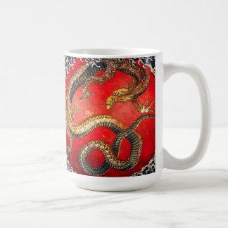 Hokusai Gold Japanese Dragon Mug