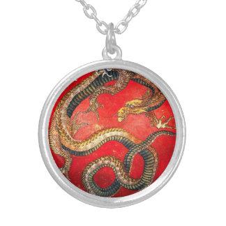 Hokusai Gold Japanese Dragon Necklace