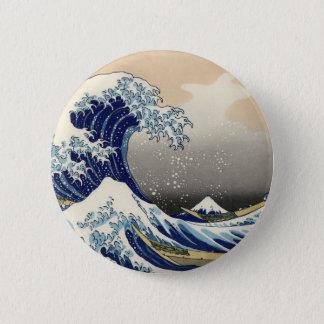 Hokusai Great Wave off Kanagawa Katsushika Tsunami Button