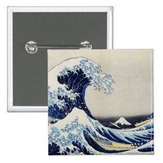 Hokusai great wave print painting button