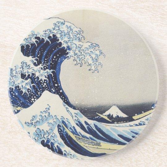 Hokusai great wave print painting coaster