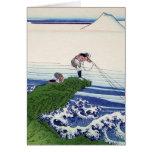 Hokusai great wave print painting greeting card
