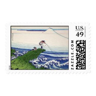 Hokusai great wave print painting postage