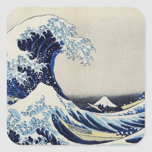 Hokusai great wave print painting square sticker