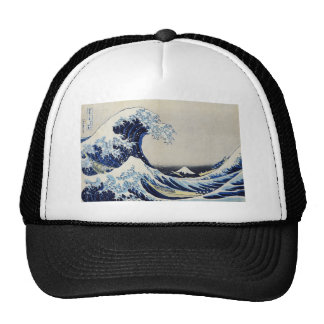 Hokusai great wave print painting trucker hat