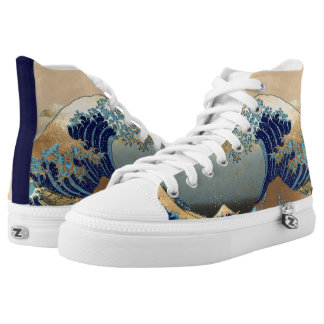 Hokusai Great Waves at Kanagawa High-Top Sneakers