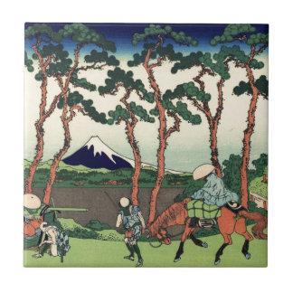 Hokusai Hodogaya en el Tokaido el monte Fuji Kyoto Azulejo Cuadrado Pequeño