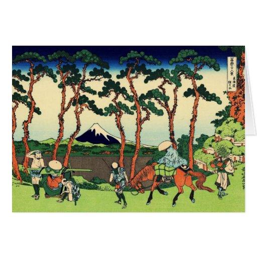 Hokusai Hodogaya en la tarjeta de nota de Tokaido