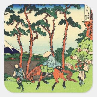 Hokusai Hodogaya en los pegatinas de Tokaido Pegatina Cuadrada