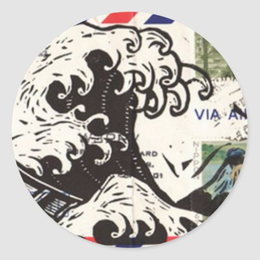 HOKUSAI JAPAN WAVE ETIQUETA REDONDA