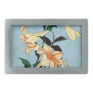 Hokusai Japanese Lilies Belt Buckle