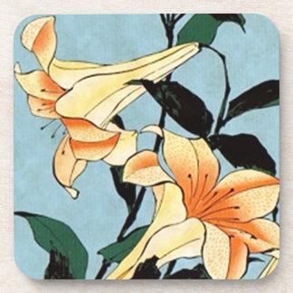 Hokusai Japanese Lilies Coasters