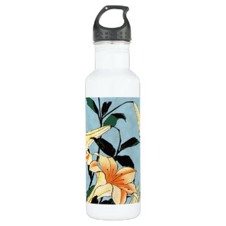 Hokusai Japanese Lilies Stainless Steel Water Bottle