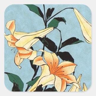 Hokusai Japanese Lilies Stickers