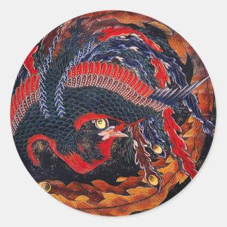 Hokusai Japanese Phoenix Stickers