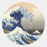 Hokusai los grandes pegatinas de la onda pegatinas redondas