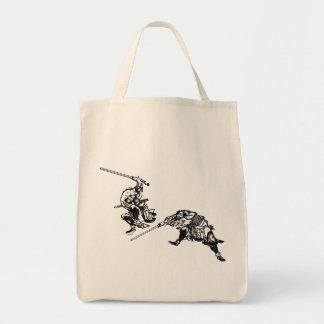 Hokusai manga samurai 2 tote bag