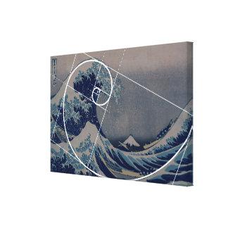 Hokusai Meets Fibonacci, Golden Ratio Canvas Print