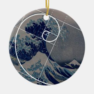 Hokusai Meets Fibonacci, Golden Ratio Ceramic Ornament