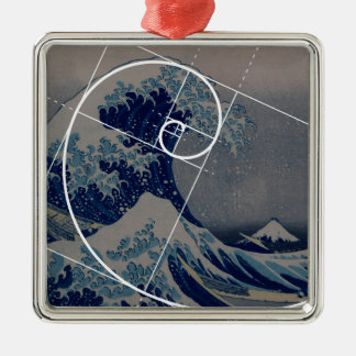 Hokusai Meets Fibonacci, Golden Ratio Metal Ornament