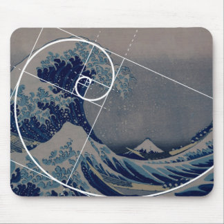 Hokusai Meets Fibonacci, Golden Ratio Mouse Pad