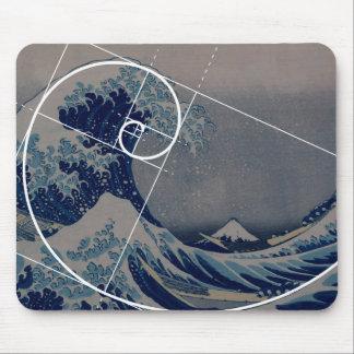 Hokusai Meets Fibonacci Golden Ratio Mouse Pad