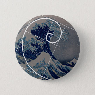 Hokusai Meets Fibonacci, Golden Ratio Pinback Button