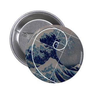 Hokusai Meets Fibonacci, Golden Ratio Pinback Button