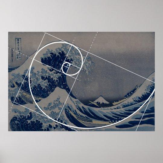 Hokusai Meets Fibonacci Golden Ratio Poster Zazzle Com