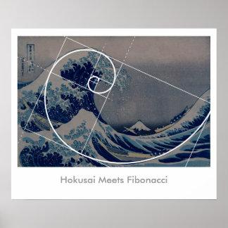 Hokusai Meets Fibonacci, Golden Ratio Poster
