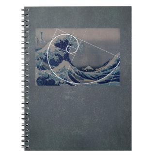 Hokusai Meets Fibonacci, Golden Ratio Spiral Notebooks