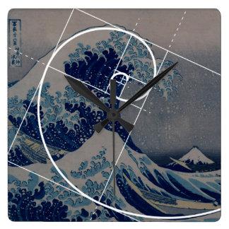 Hokusai Meets Fibonacci, Golden Ratio Square Wall Clock