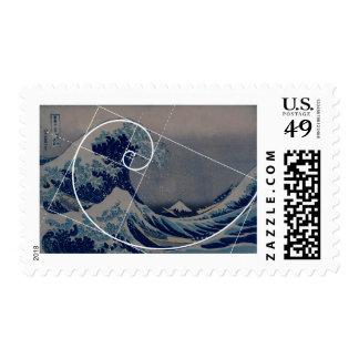 Hokusai Meets Fibonacci, Golden Ratio Stamp
