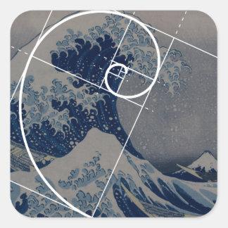 Hokusai Meets Fibonacci Golden Ratio Square Stickers