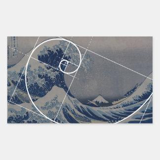 Hokusai Meets Fibonacci Golden Ratio Rectangle Stickers