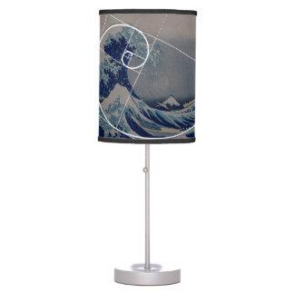 Hokusai Meets Fibonacci, Golden Ratio Table Lamp